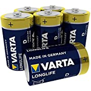 Varta 4120101306 Longlife Batteria Alcalina,Torcia D LR20, Confezione da 6 Pile - il design può variare, Confezione risparmio