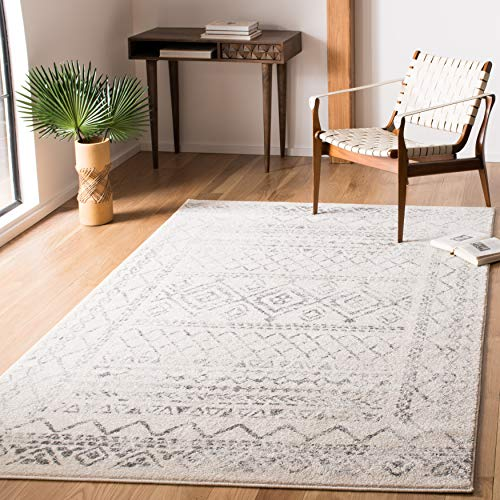 Safavieh Tulum Collection TUL268A Moroccan Boho Distressed Non-Shedding Living Room Bedroom Dining Home Office Area Rug, 5'3' x 7'6', Ivory / Grey