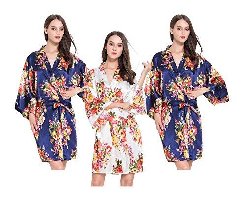 Fete - Set di 3 accappatoi kimono in raso, motivo floreale, per addio al nubilato Marina Militare Taglia unica