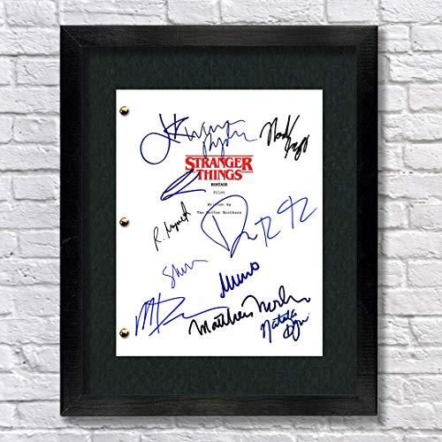 Stranger Things TV Show Fundido autógrafo Firmado Reprint 8.5 x 11 Script Enmarcado 13 x 15 Millie Bobby Brown Gaten Matarazzo Caleb Mclaughlin Finn Wolfhard Noah Schnapp Winona Ryder