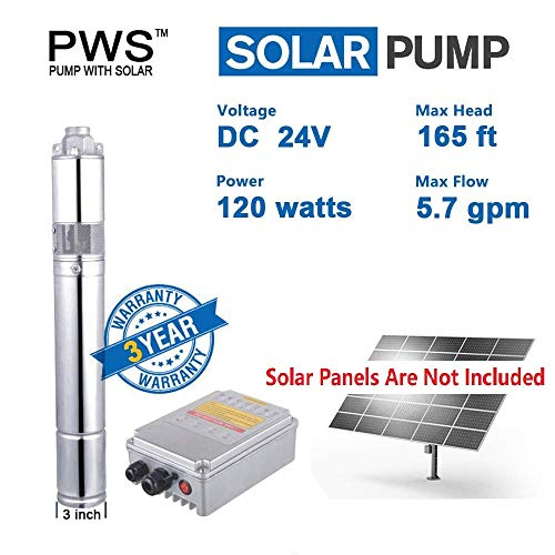 PWS Stainless 316 Deep Well Submersible Pump, 24VDC, 0.16HP, 165ft, 5.7GPM,Solar Water Pump with MPPT Controller, JS3-1.3-50