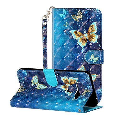 i-Hülle 3D Effect Glitzer Kompatibel mit LG V40 ThinQ Handyhülle Phone Hülles PU Lederhülle Brieftasche Etui Handytasche Kartenfach Buchstil Flip Tasche für LG V40 ThinQ,Blauer Schmetterling
