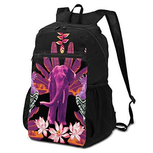 Sac à dos ultra léger et pliable pour randonnée, voyage, camping (éléphant, banane, feuilles de lotus, fleurs indiennes)
