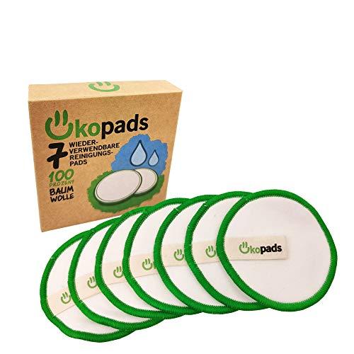 Ökopads ® Waschbare Abschminkpads | 7 Wiederverwendbare Wattepads | 100% Bio- Baumwolle | Zertifiziert | Abschminkpads Waschbar | reusable cotton pads | Zero Waste | Start up aus DE
