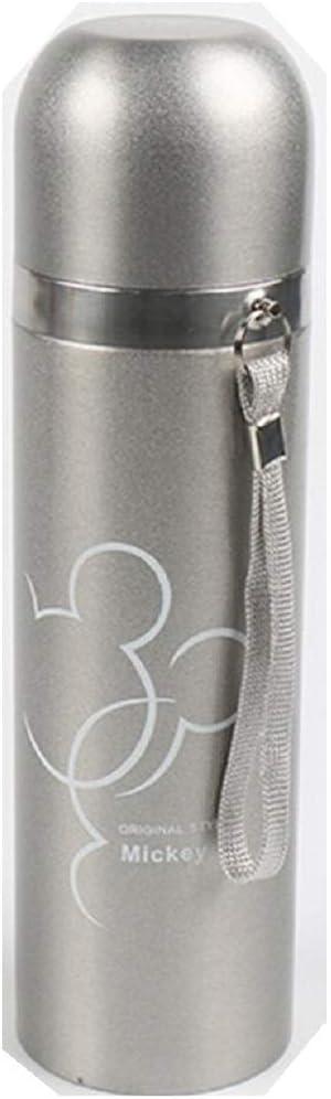Termo de acero inoxidable, diseño de Mickey Design, 500 ml, 0,5 l, para bebidas frías y calientes. Mantiene el calor y el frío durante mucho tiempo. Termo para niños y niñas. plata Talla única