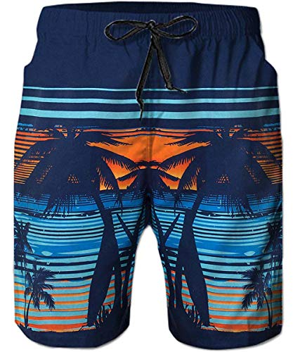 TUONROAD 3D Graphic Printed Swimming Shorts Costume Navy Blue Turquoise Teal Orange Red Beach Palm Tree Stylish Bathing Suit Swimwear Cute Short Swim Trunks Guys Tropical Hawaii Modest Beach Shorts