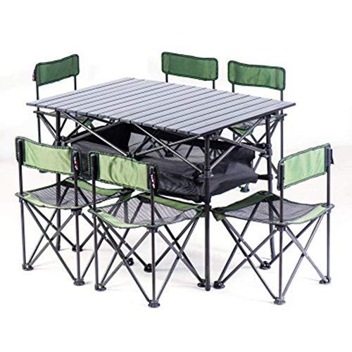 515h+ADL1ZL - Klappbare Campingtische Tragbare Picknicktische Klappbarer Tisch mit 6 Stühlen für die Verpflegung Camping Trestle Picknickgarten Patio BBQ Party Angeln Lili (Farbe: E)