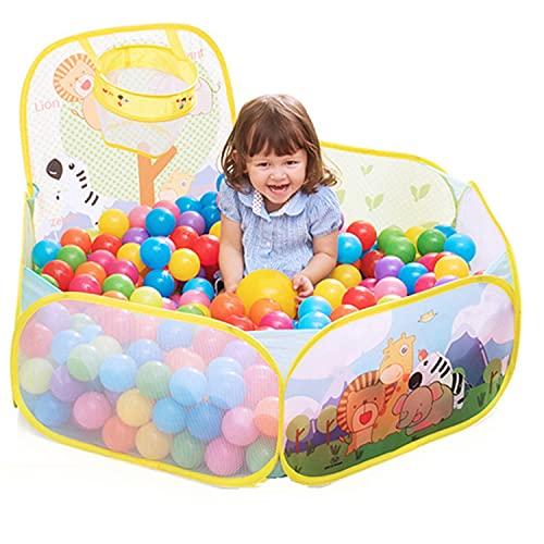 Plegable Piscinas de Bolas, Material de PE, Durable y Transpirable Tienda de Campaña Infantil Plegable, Infantil Piscina de Bolas con una Canasta y 100 Bolas Oceánicas para Interior y Exterior