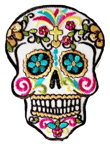 """P.ANTIGURU Bügel-Skull-Totenkopf-Mexican-Mexico-Aufnäher-Patches-Applikation-Stickerei-groß für Jeans-Jacke-n Kleidung Aufbügler zum aufbügeln 26 x 18 cm """""""