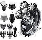Rasoir Électrique Homme,RINBO Tondeuse Cheveux Rasoir Electrique sans Fil 5 en 1 Kit 100% étanche,5 Têtes de Rasoir/Tondeuse à Cheveux/Tondeuse à nez/brosse de nettoyage,Avec Affichage LCD (Gris)