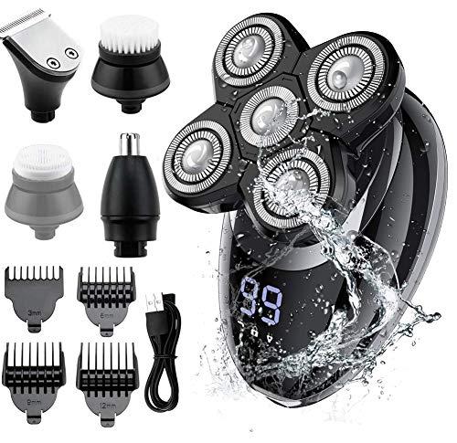 Rasoir Électrique Homme,RINBO Tondeuse Cheveux Rasoir Electrique sans Fil 5 en 1 Kit 100% étanche,5 Têtes de Rasoir/Tondeuse à Cheveux/Tondeuse à nez/brosse de...