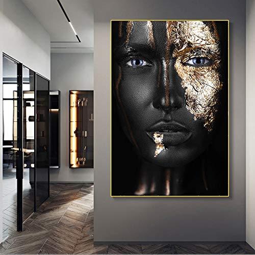 Chica Negra con Maquillaje Dorado, Pinturas en Lienzo, Carteles e Impresiones artísticos de Pared Modernos, decoración de Cuadros de Pared de Mujer Africana 60x90cm
