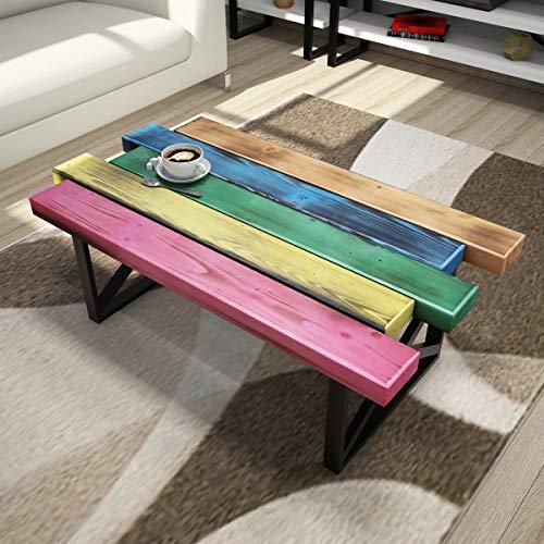 Vivense - Mesa de centro de madera maciza para sala de estar (50 x 80 x 35 cm), diseño de patas de metal