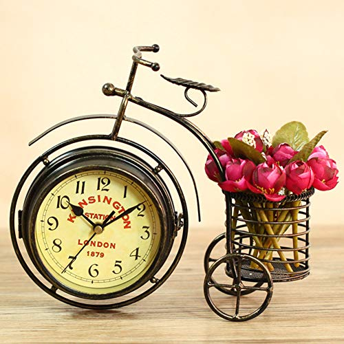 MSlongzc Retro Vintage Silent Iron Bike Bicycle Clock Decoration with Storage Basket Home Office Living Room Desk Ornament Decor Bronze