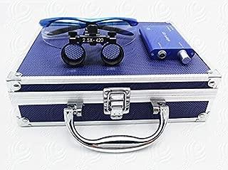Dental Surgical 2.5X420mm Binocular Loupes + 3W LED Head Light Lamp + Aluminum Box (Blue) by SuperElight