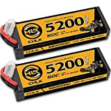 7.4V Lipo Battery 5200mAh 50C 2S Lipos Hard Case with Dean-T Plug for Traxxas 1/10 Scale/4WD Brushless/Tamiya Ford GT4/Truggy/Losi/HPI Trophy Flux Truggy RTR RC Car Truck/UAV Drone RC Models (2 PCS)
