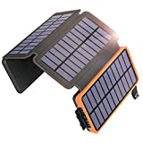 Solar Charger 25000mAh, SOARAISE Waterproof Power Bank with 4 Solar Panels Portable Battery Pack...