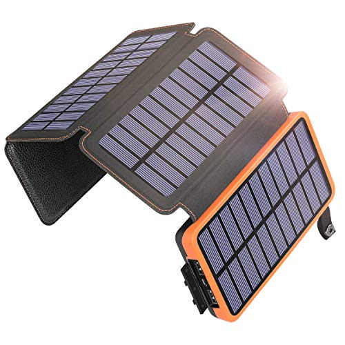 Solar Charger 25000mAh, SOARAISE Solar Phone Charger with 4 Solar Panels Waterproof Portable Charger Power Bank for iPhone, ipad, Samsung, and Outdoor Camping
