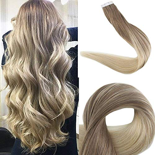 Easyouth Tape in Remy Haar Echthaar Extension Tape 20zoll 50g 20Pcs Pro Paket Aschbraune Mischung mit Blonder Farbe Human Hair Tape in Extension Blonde Tape in Hair Extensions