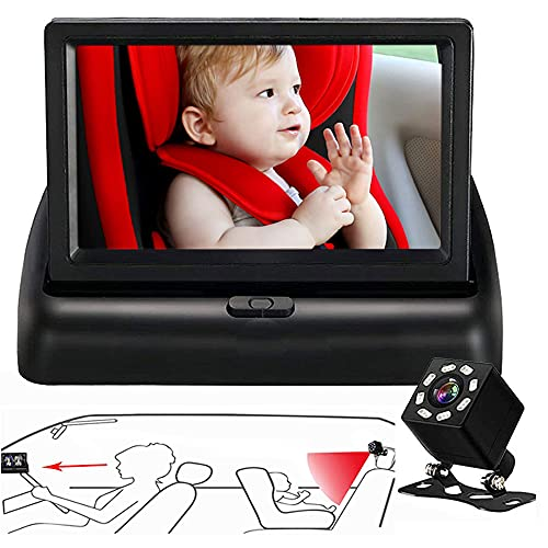 BAOHZ stroller mirror, baby car monitor, rear seat to observe the baby, wide field of vision, baby monitor with night vision to easily observe the baby's every move.