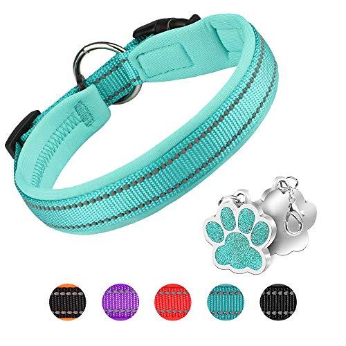 Hundehalsband Verstellbare Weich Gepolstertes Neopren Nylon Hunde Halsband Reflektierend Halsband Atmungsaktives Einstellbar mit Erkennungsmarke for kleine mittel große Hunde - Blau-M