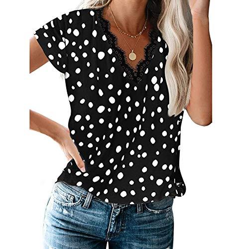 Camiseta de manga corta con cuello en V para mujer, sexy, delgada, con estampado floral, de moda, con estampado floral, con estampado de estrellas