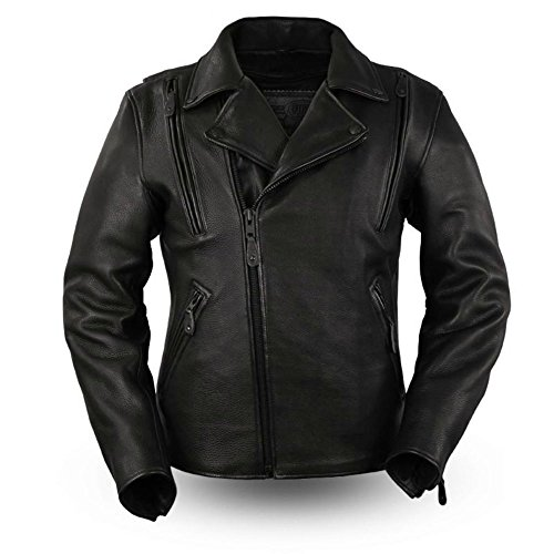 First MFG Co. - Night Rider - Men's Motorcycle Leather Jacket (Black, X-Large)