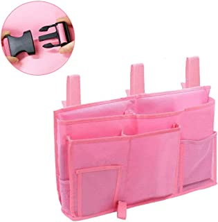 Mladen Bedside Caddy with Buckle Straps Bunk Bed Organizor Hanging Storage Bag for Dorm Rooms Bed Rails,Hospital Beds,Loft Beds,Baby Bed,Baby Cart,Car Backrest(Pink)