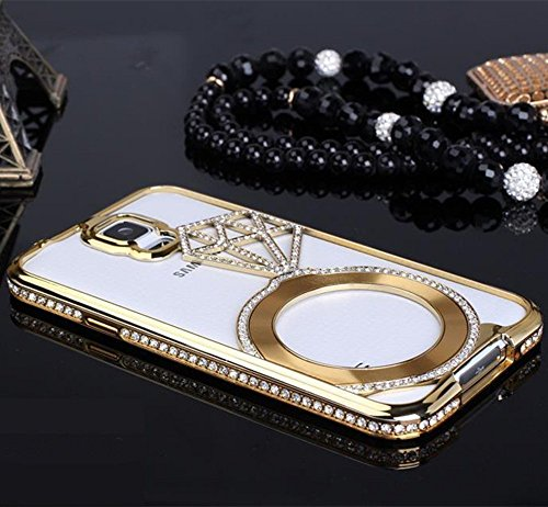 Generic Deluxe Stars Luxury Diamond Crystal Rhinestone Bling Metal Frame Bumper Case for Samsung Galaxy S5 I9600, Gold
