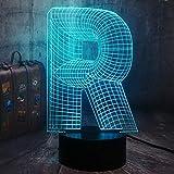 Letra del alfabeto luz de noche LED ilusión 3D saco de dormir para bebé lámpara de mesa fiesta de cumpleaños de Navidad luz decoración del dormitorio