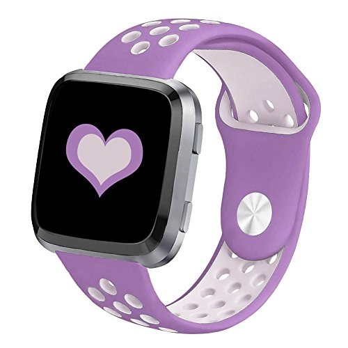 DEKER for Fitbit Versa Bands for Women Men Small Large Wrist, Breathable Soft Fitness Sport Silicone Strap Replacement Accessories Wristbands for Fitbit Versa Smart Watch (Purple/Lavender, Small)