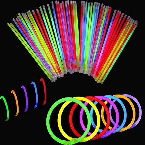 BBM [Solamente 100 Varitas Luminosas y 100 Conectores Reutilizables Varitas Luminosas Fluorescentes Pulseras Luminosas para Fiestas Formar Pulseras