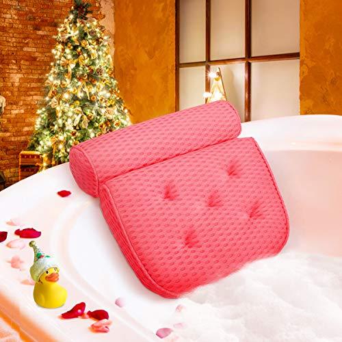 Essort Cojín de Baño de SPA 4D Almohada Bañera con 5 Ventosas Antideslizante, Bath Pillow Ergonómico para Soporte de Cuello y Hombro, para Bañera Jacuzzi y Hidromasajes, 37x38x10cm Rosado