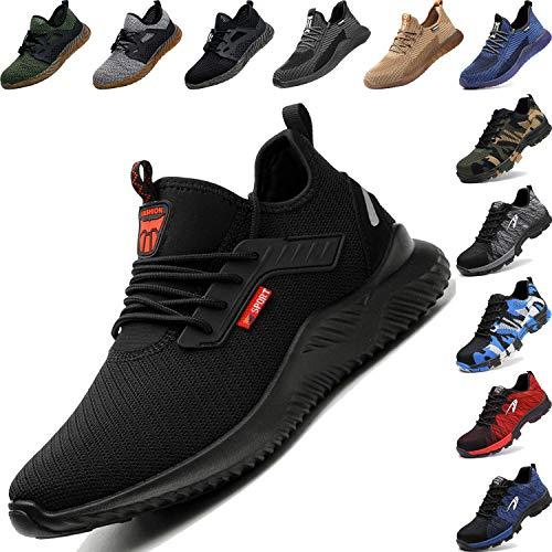 BAOLESEM  Arbeitsschuhe Herren Sicherheitsschuhe Herren S3 Damen Leicht Sportlich Atmungsaktiv Schutzschuhe Stahlkappe Sneaker, 42 EU, 02 Schwarz