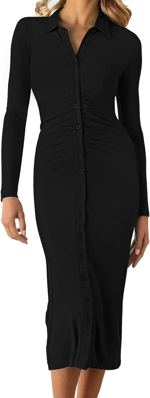 Meenew Women's Button Down Long Sleeve Tight Dress Collared V Neck Midi Knit Dress