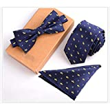 CYCDSD 6Cm Slim Herren Krawatte 3Er Set Bule Balck Dolka Dot Striped Floral Bowtie Taschentuch Krawatte Set Business Skinny Ties-F25