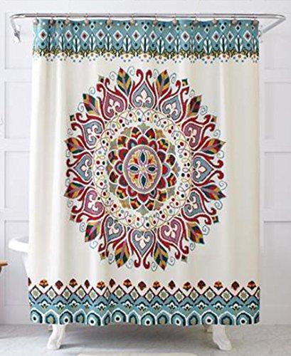 BBFhome ourlet lesté World Explorer Médaillon polyester rideau de douche 120 x 180 EasyCare