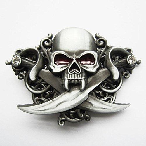 Boucle Ceinture pour lanière Universelle Pirate tête de Mort