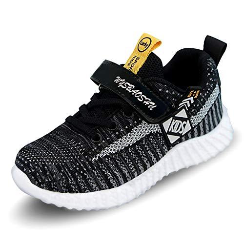 ANBIWANGLUO Kinder Sportschuhe Unisex-Kinder Ultraleicht Atmungsaktiv Klettverschluss Turnschuhe Jungen Sneakers Laufen Schuhe Laufschuhe für Mädchen Schwarz 34 EU = 35CN