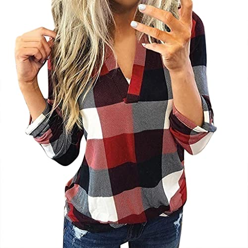 Polo Shirts for Women Cotton,Long Sleeve Tops for Women, Womens Fashion V Neck Solid Zipper Pullover Sweatshirts Casual Loose T Shirt Blouses
