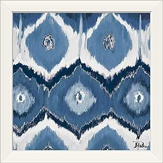 CANVAS ON DEMAND New Ikats Indigo White Framed Art Print, 19