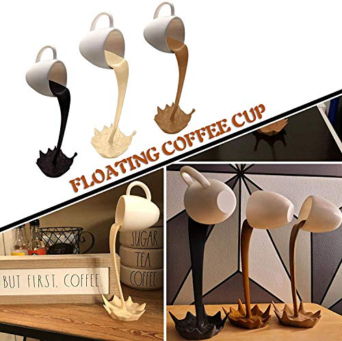 TTCPUYSA 2021 Novelty Magic Floating Coffee Cup Mug,Sculpture,3D Pouring Spill Kitchen Decor,Magic Pouring Splash Coffee Cup, Sculpture Art Decor for Home,Gift for Coffee Lover (Khaki)