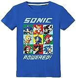 Silver Basic Camiseta de Verano Impresa en 2D para Niños y Niñas Sonic The Hedgehog Camiseta para Niños Sonic Cosplay Disfraz para Niños Sonic Shirt 140,Azul Sonic Team-2