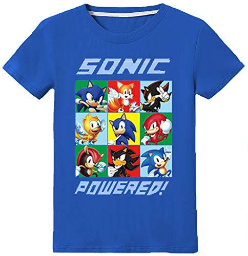 Silver Basic Camiseta Deportiva para Niños Inspirada en la Película Sonic The Hedgehog con Estampados Gráficos de Sonic Sonic Cosplay Sonic tee para Niños 130,Azul Sonic Team-3