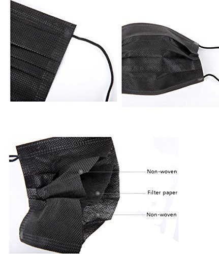 50 Pcs 3-Ply Disposable Earloop Face Masks Dust Filter Mouth Cover (Black)