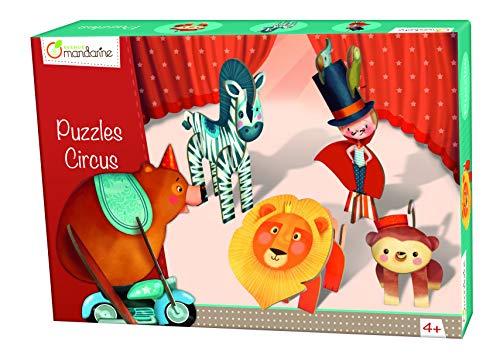 Avenue Mandarine 42768O - Une boite de 5 Puzzles 3D à assembler 14x7x17 cm, Circus Garçon