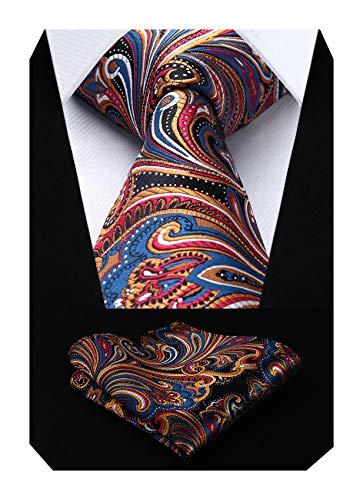 HISDERN Conjunto de corbata y bolsillo con pañuelo de boda floral Paisley para hombre