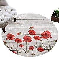 カーペット 円形 ラグマット 木の板 ケシの花 じゅうたん シャギーラグ 絨毯 ふわふわ マイクロファイバー 防音 滑り止め付 床暖房 ホットカーペット対応 おしゃれ 直径 100cm