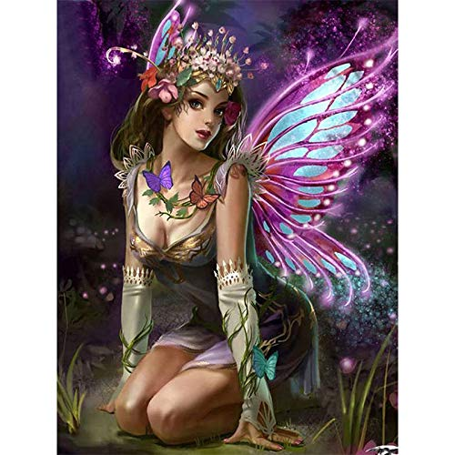DIY 5D Diamond Painting Kits Full Drill Diamond Embroidery Painting Art by Number Kits Night Fairy with Butterfly Wings for Home Wall Decorations(11.8 x 15.7 inches)
