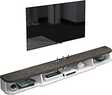 Floating TV Cabinet, TV Stand Set-top Box, Wooden Media Entertainment Center Console, Suitable for 32-42 Inch TV (Color : A)